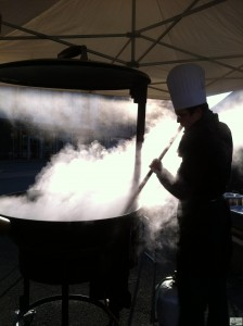 giant pot steaming
