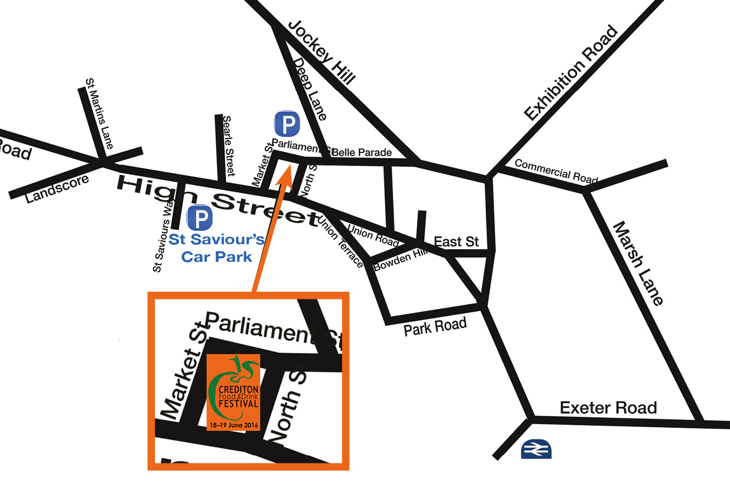 Crediton town map, showing parking